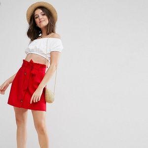 ASOS Petite red linen skirt